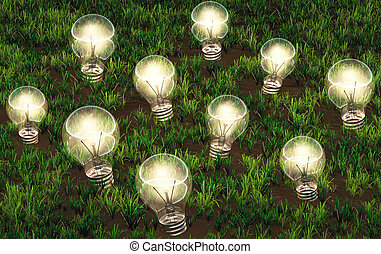 Cultivation of lit light bulbs - some lit light bulbs with...