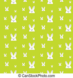 Happy Easter Rabbit Bunny Green Seamless Background - Vector...