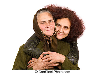 Mother and daughter - Old peasant woman with her daughter...