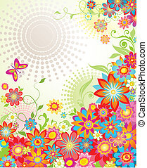 Colorful summer floral banner