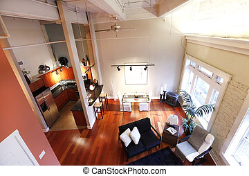 Reconstructed modern living and kitchen room. Panoramic view...