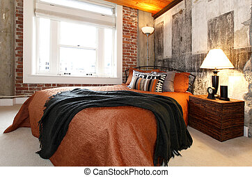 Modern bedroom with a broken concrete wall - Modern bedroom...
