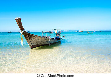 Longtail Boat on Ao Nang Beach,Krabi.Thailand