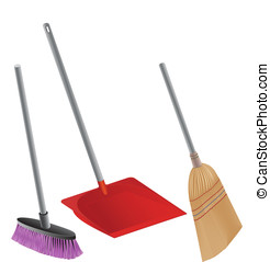 cleaning - Shovel,brush and brooms