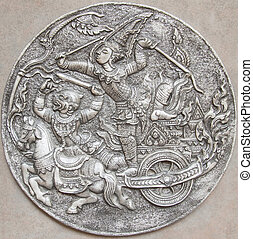 Ramayana epic,Thai style texture in thailand temple
