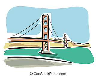San Francisco (Golden Gate) - Illustration of the Golden...