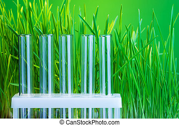 Green chemistry - Tow of test tubes with fresh green grass...