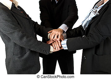 United business team - Business people body parts with hands...