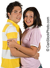 Young couple hugging - Young couple with surprised look...