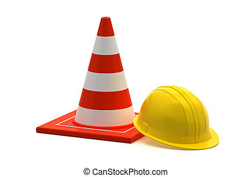 traffic cone and worker Constructio