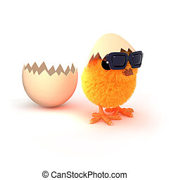 3d Easter chick runs from the egg - 3d render of an Easter...