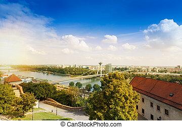 Bratislava and Danube panorama - Panorama of SNP bridge in...