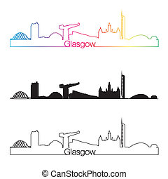 Glasgow skyline linear style with rainbow in editable vector...