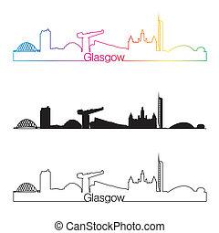 Glasgow skyline linear style with rainbow in editable vector...