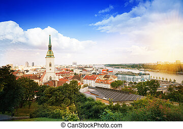Panorama of Bratislava downtown and St Martins Cathedral