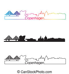 Copenhagen skyline linear style with rainbow in editable...