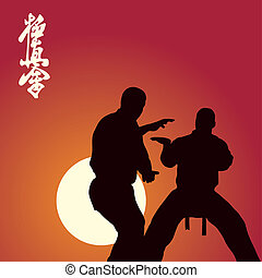 Two men are engaged in karate against the sun