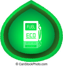 Eco Fuel Concept - Big green leaf with white gas station...