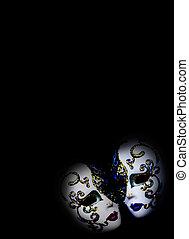 dos, hermoso, máscaras, emerger, oscuridad