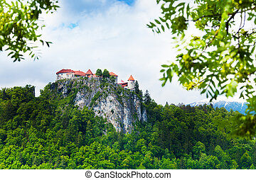 Bled castle cliff - Bled castle on the high mountain cliff,...