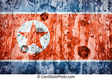 North Korea flag on a weathered grunge background