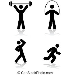Exercise icons - Icon set showing a person doing different...