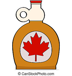 Maple syrup - Cartoon illustration showing a bottle of...