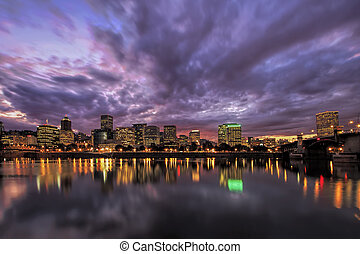 Portland Oregon Waterfront Skyline After Sunset - Portland...