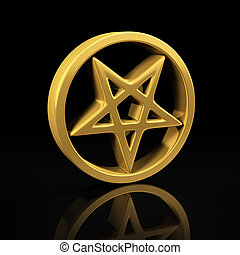 Gold pentagram on black - Pentagram gold symbol on a black...
