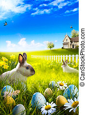 Art Easter bunny rabbit and easter eggs on meadow.