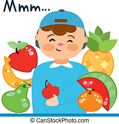 child with fruits - Is a EPS 10 Illustrator file without...