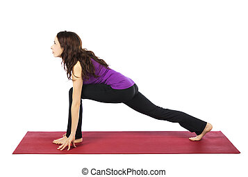 Woman in High Lunge Pose in Yoga - Young woman is doing High...