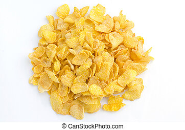 Small sampling of corn flake cereal, isolated