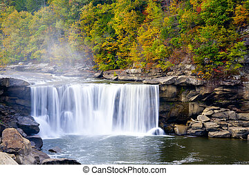Cumberland Falls, Kentucky. Beautiful fall landscape. Long...