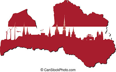 Latvia symbols of business and history of state - Latvia map...