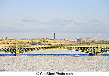 View of St Petersburg Blagoveshchensky Annunciation Bridge...