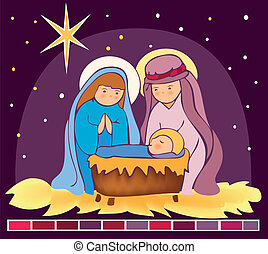 Baby Jesus in a manger 3 - Is a EPS 10 Illustrator file...