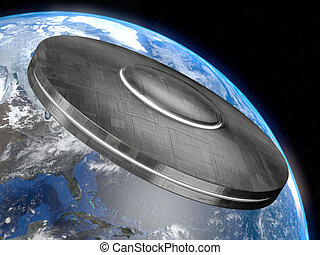 Ufo - Very high resolution 3d rendering of a big UFO facing...