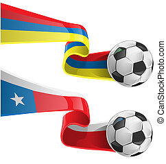 chile and colombia flag - chile colombia flag with soccer...