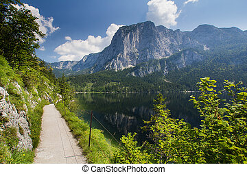 Austria panorama - The lake in the high Alp mountains in...
