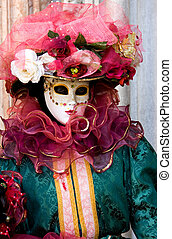 Venice carnival 2009 - Portrait of a woman in a flamboyant...