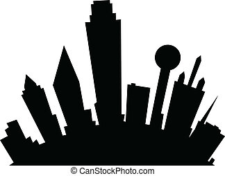 Cartoon Dallas - Cartoon skyline silhouette of the city of...