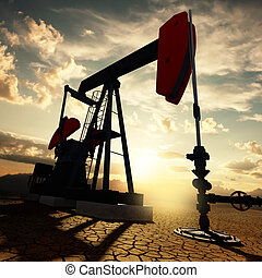 Oil pump on the sunset sky - Very high resolution 3d...