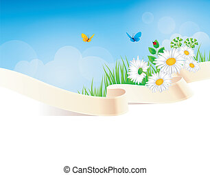 Summer background with grass