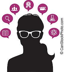 Womans head with education icons - Vector illustration of...