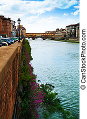 View from Ponte alle Grazie - Streest of Florence and Ponte...