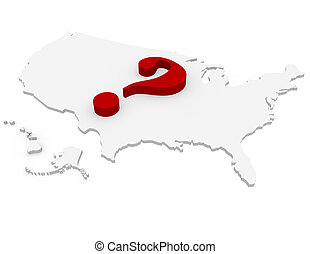 3d Render of the United States with a Question Mark