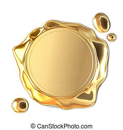 Golden wax seal - Very high resolution 3d rendering of a...