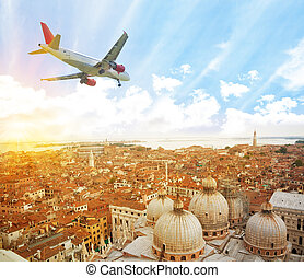 Plane in Venice - Panorama of Venice from above with...