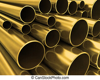 Brass tubes - Very high resolution rendering of brass tubes